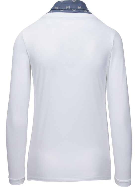 Back of Callidae Practice Shirt in White with Slate Fox collar