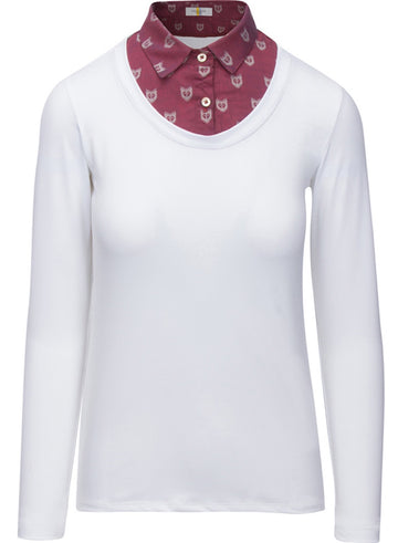Callidae Practice Shirt in White with Burgundy Fox collar