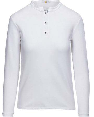 Callidae Snap Polo in White/Grey Ribbon