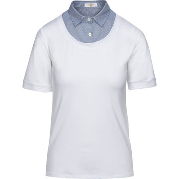 Callidae Short Sleeve Practice Shirt in White/Ice Blue Dobby - Women's XS