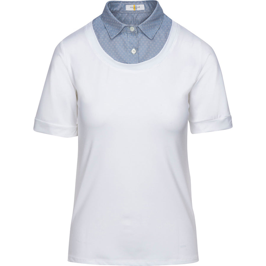 Callidae Short Sleeve Practice Shirt in White with Ice Blue Dobby