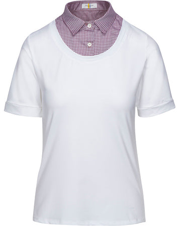 Callidae Short Sleeve Practice Shirt in White with Lilac Houndstooth collar