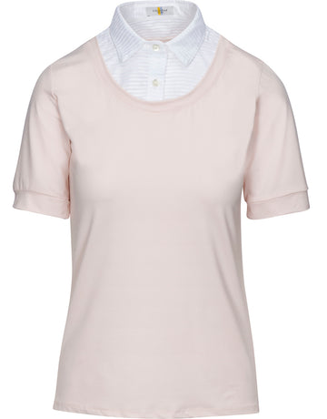 Callidae Short Sleeve Practice Shirt in Blush with White Pleats