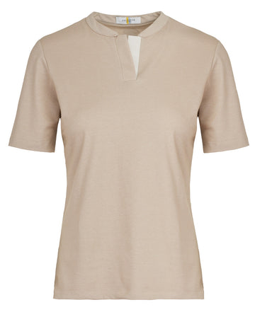 Callidae Short sleeve polo in cottonwood with cream ribbon