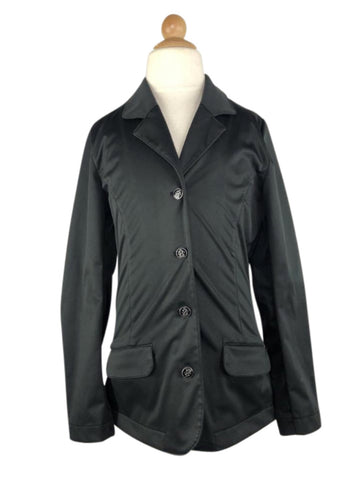 front view of Horze Crescendo Haven Juniors Show Jacket in Black
