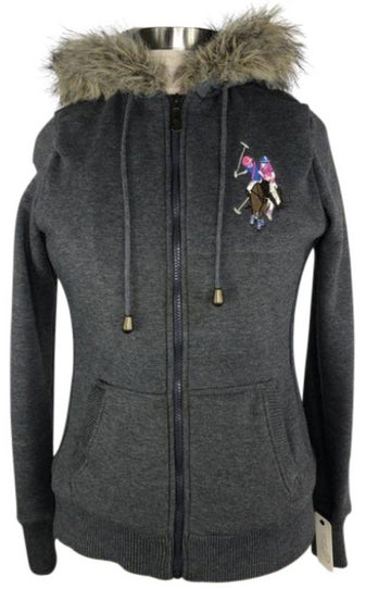 US Polo Assn. Faux Fur Hoodie in Grey - Women's M