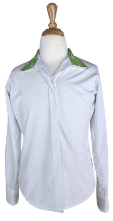 RJ Classics Prestige Classic Cool Show Shirt in White/Green Whales - Children's 12 | M