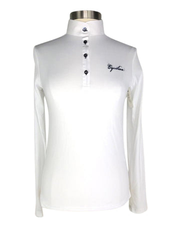 Equiline Gracielle Long Sleeve Competition Shirt in White -  Front View