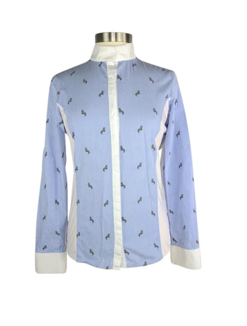 front view of Equiline Janae Shirt in Light Blue