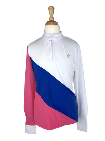 front view of Kathryn Lily ProAir Colorblock Competition Shirt in White/Pink/Blue