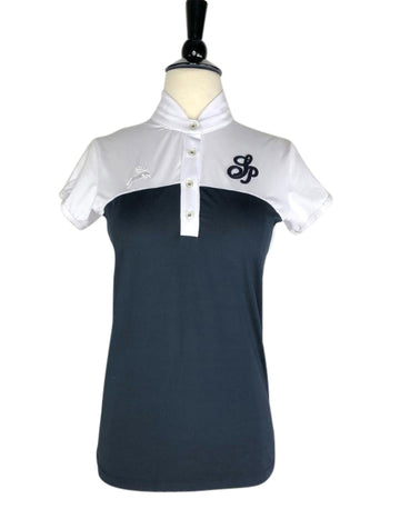 front view of Spooks Bicolor Show Shirt in White/Navy