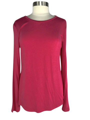 front view of Asmar Equestrian Bamboo Long Sleeve Crew in Punch