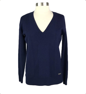 Asmar Equestrian Cashmere V-Neck Sweater in Navy - Women's S