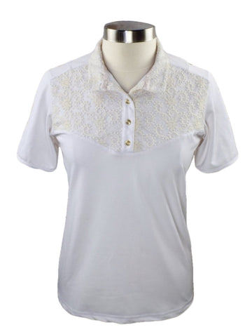 Fior da Liso Lacie Short Sleeve Show Shirt in White/Cream Lace - Women's US 10 | M