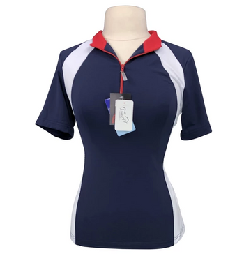 Front view EIS Paneled Short Sleeve COOL Shirt in Navy/Red/White
