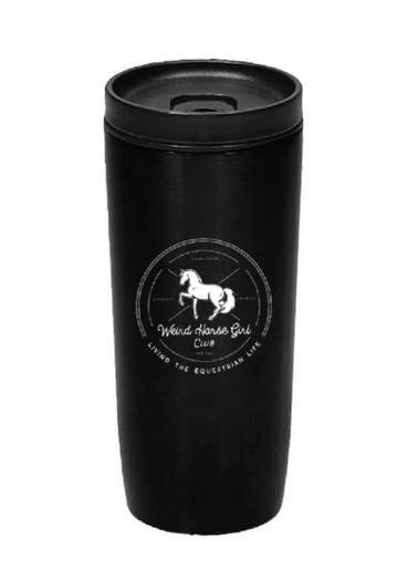 Spiced Equestrian Weird Horse Girl Club Travel Tumbler in Black