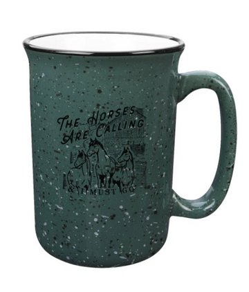 Spiced Equestrian The Horses Are Calling Camp Mug in Green