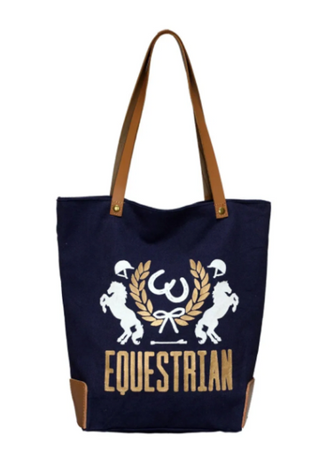 Spiced Equestrian Crest Zip Tote in Navy