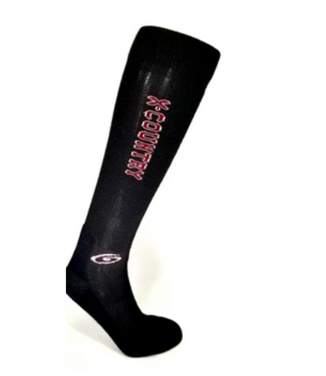 Foot Huggies Cross Country Socks in Black/Burgundy