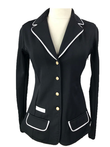 Spooks Show Jacket in Black w/ White Piping - Women's M
