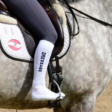 Foot Huggies Dressage Sock - Black Sock/ Purple Lettering