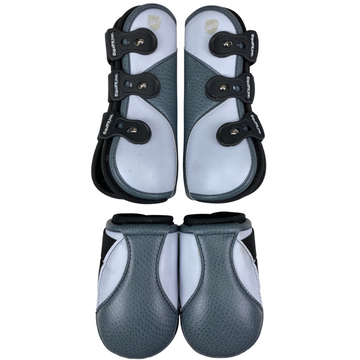 Equifit Custom D-Teq Boots (Full Set) in White/Grey/Black - Large