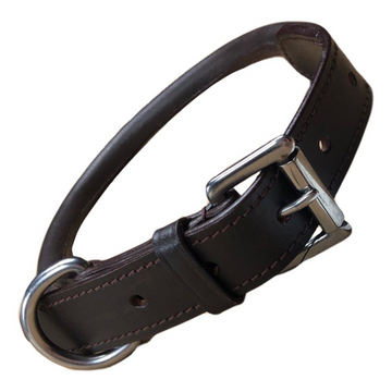 Rolled Leather Dog Collar in Brown - 14