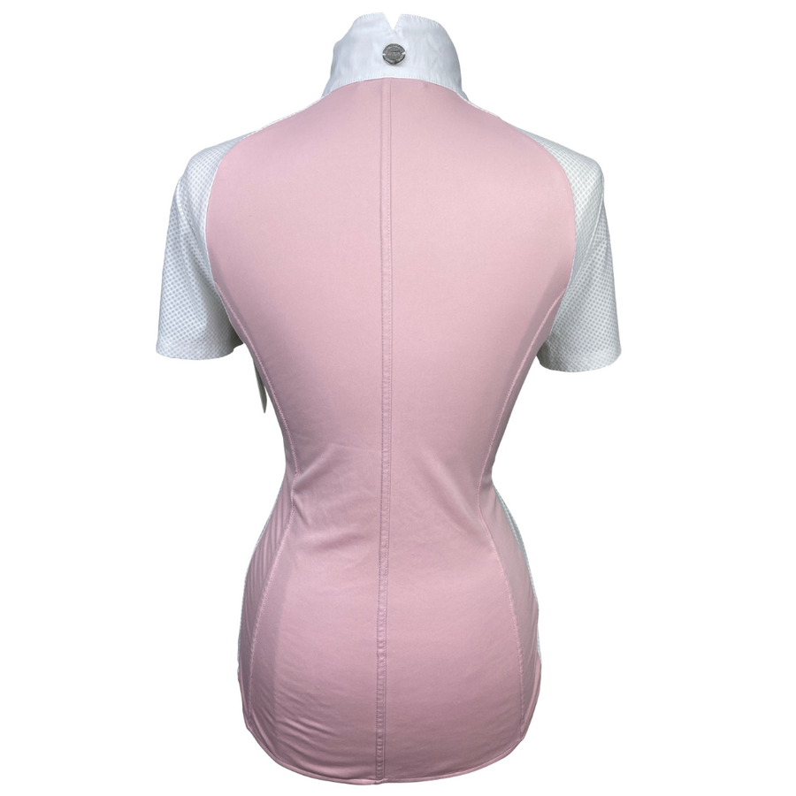 back of Asmar Equestrian Iris Short Sleeve Show Shirt in White/Pink - Women's Large