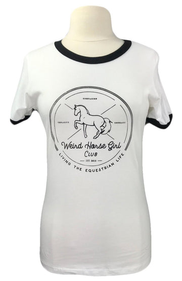 Spiced Equestrian Weird Horse Girl Club Tee in White - Women's L