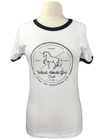 NWT Spiced Equestrian Weird Horse Girl Club Tee in White - Women's XL