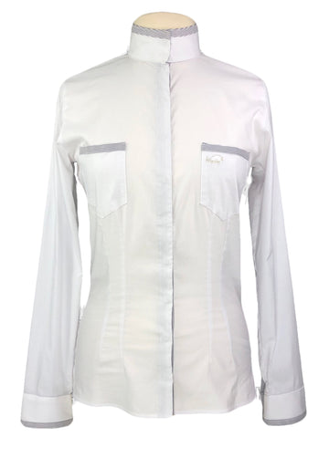Winston Equestrian Vienna Show Shirt in White/Grey Stripe - Women's EU 40T | M/L