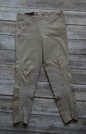 Ariat Side Zip Khaki Breeches- Front View