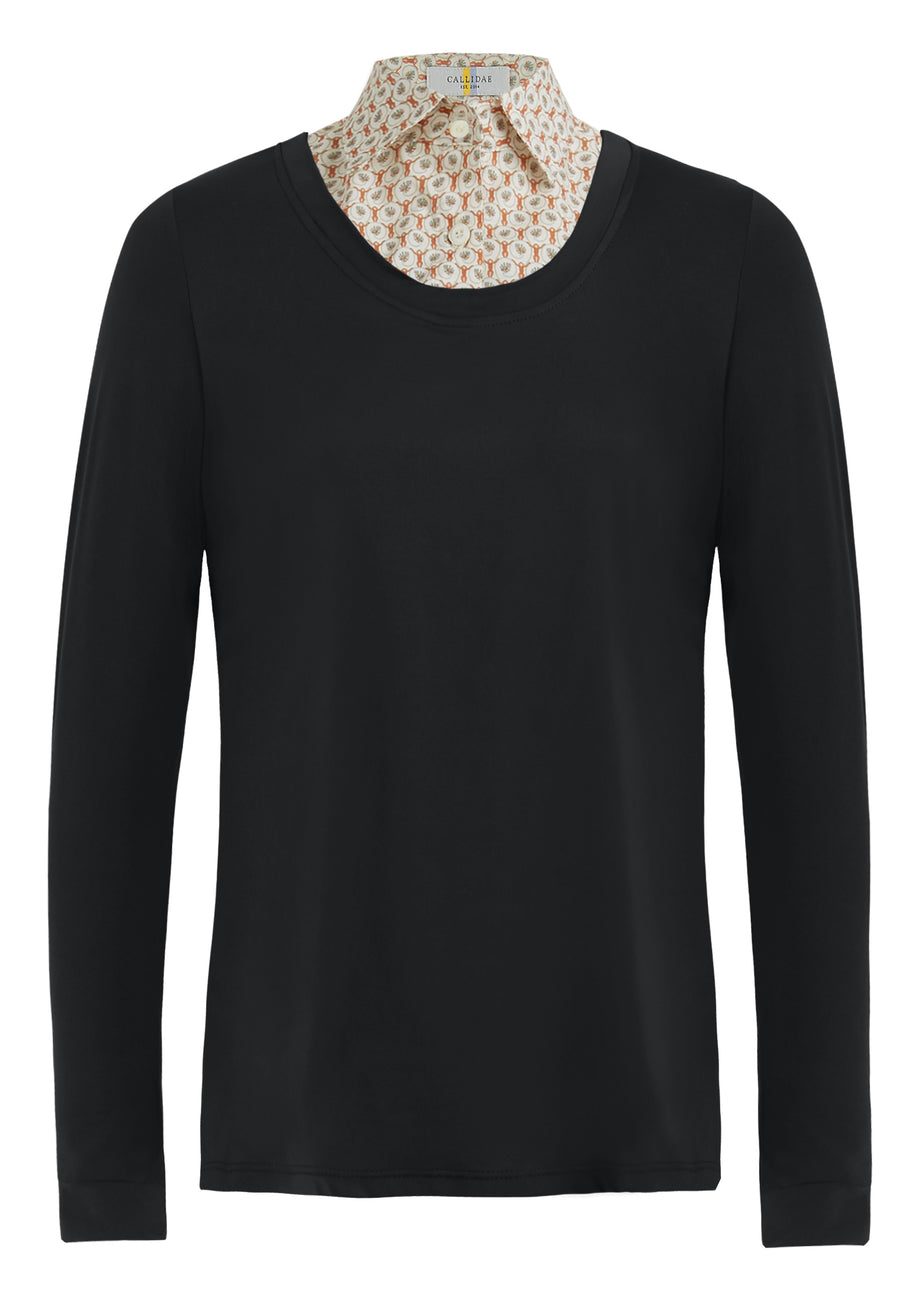 Callidae Practice Shirt in Black with faux monkey pattern collar