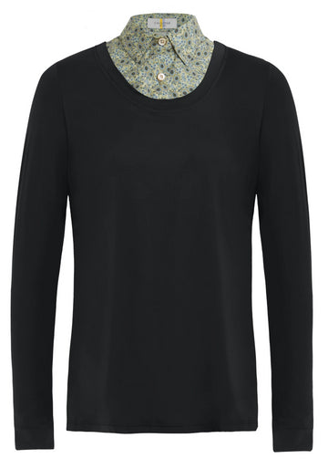 Callidae Practice Shirt in Black with faux sunflower collar