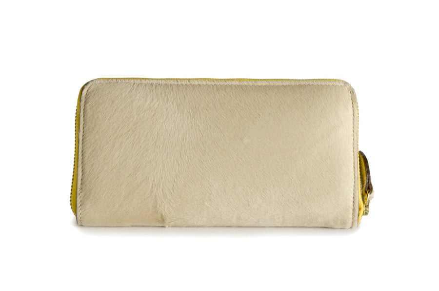 Oughton Limited Carteret Haircalf Wallet in Creme and Yellow - Overview 3