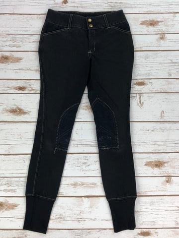front view of Equine Couture Sportif Natasha Breeches in Black - Children's 12 | M