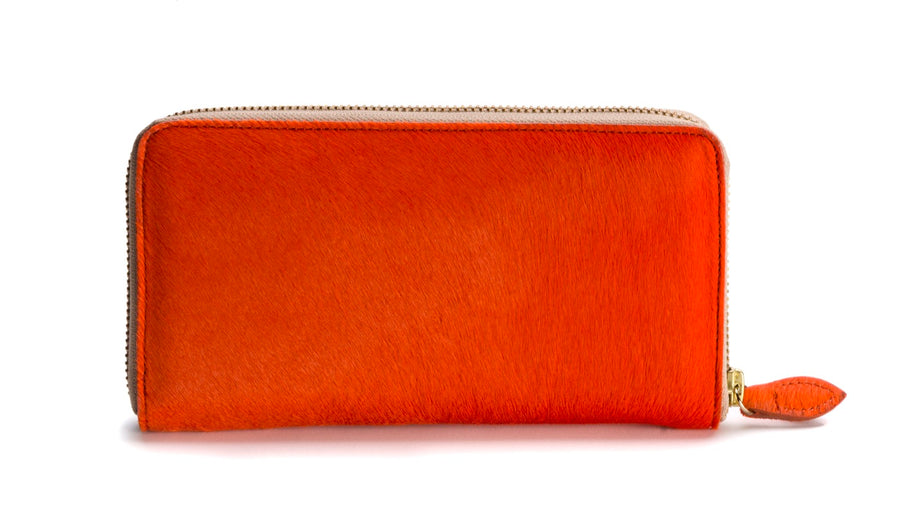 Oughton Limited Carteret Haircalf Wallet in Hermes Orange - Overview 2