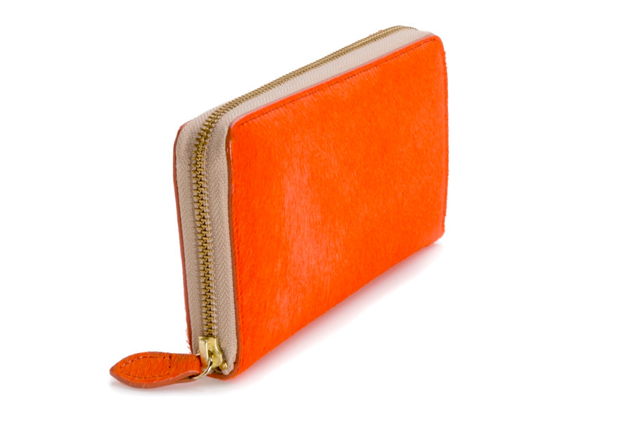 Oughton Limited Carteret Haircalf Wallet in Hermes Orange - Overview