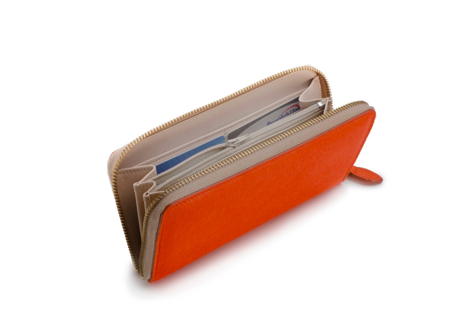 Oughton Limited Carteret Haircalf Wallet in Hermes Orange - Inside View