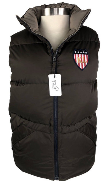 Kingsland Reversible Down Vest in Chocolate/Taupe -  Front View
