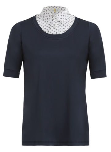 Callidae Short Sleeve Practice Shirt in Navy with Red Burst collar