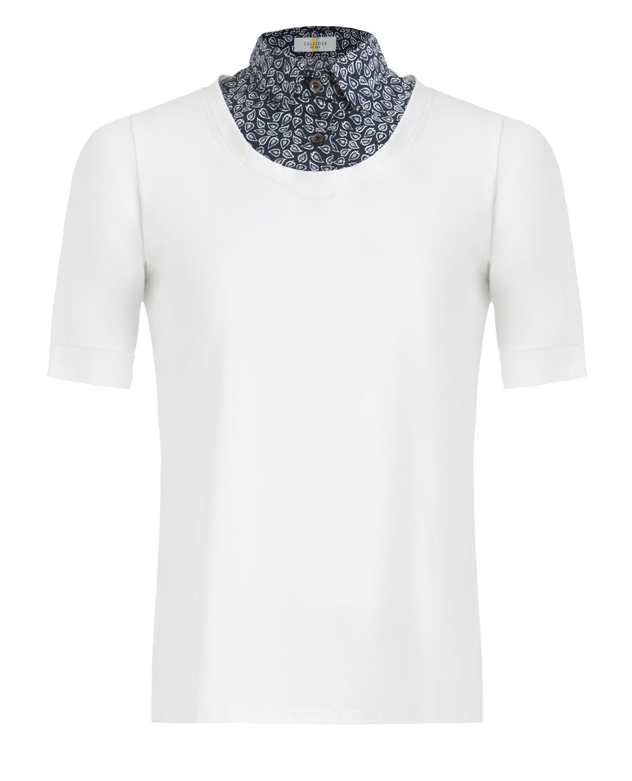 front view of Callidae Short Sleeve Practice Shirt in White/Navy Leaves