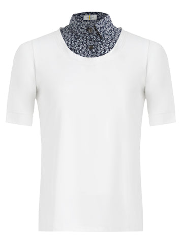 Callidae Short Sleeve Practice Shirt in White with Navy Leaves collar