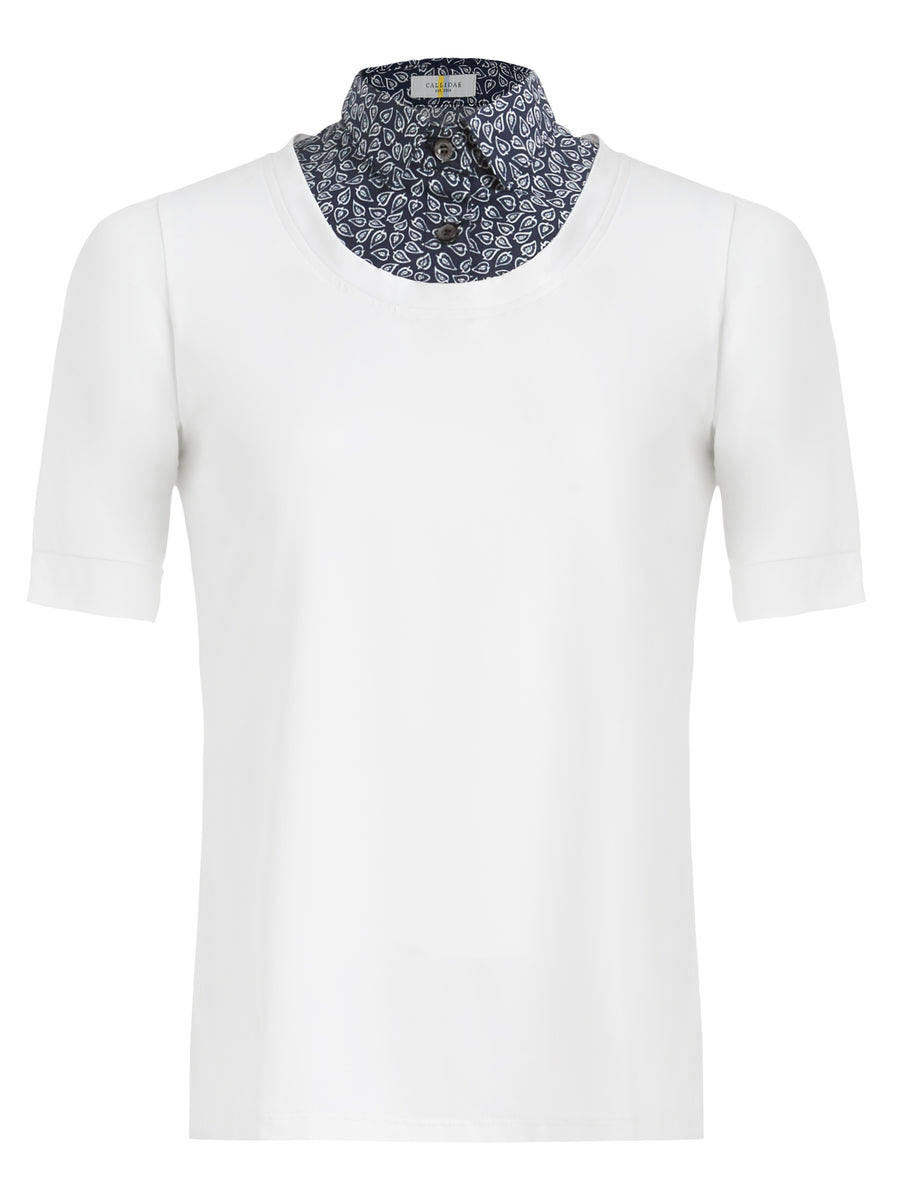 Callidae Short Sleeve Practice Shirt in White with Navy Leaves