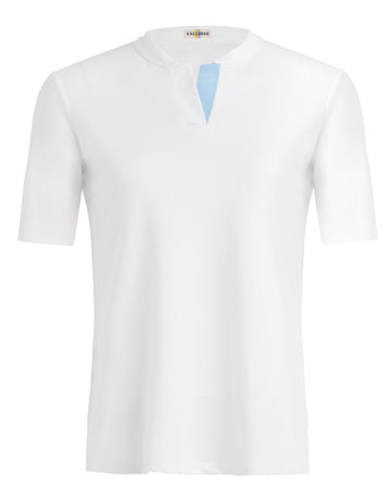 Callidae Short Sleeve Polo in White/Light Blue Ribbon