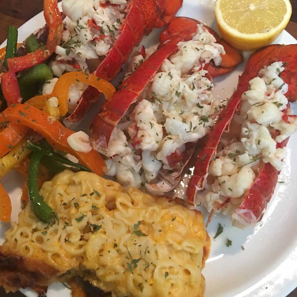 Butter and White Wine Poached Lobster Tails