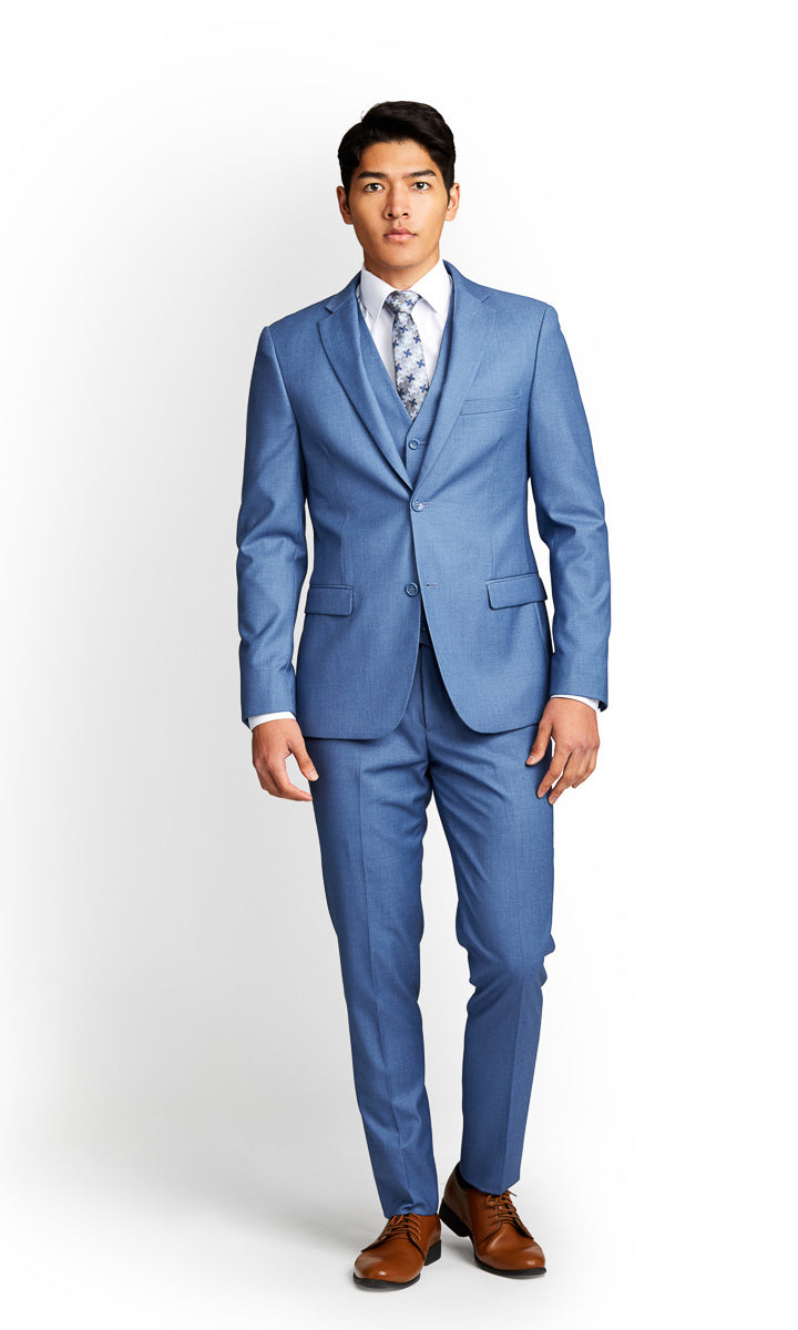 Sky Blue Vested Suit