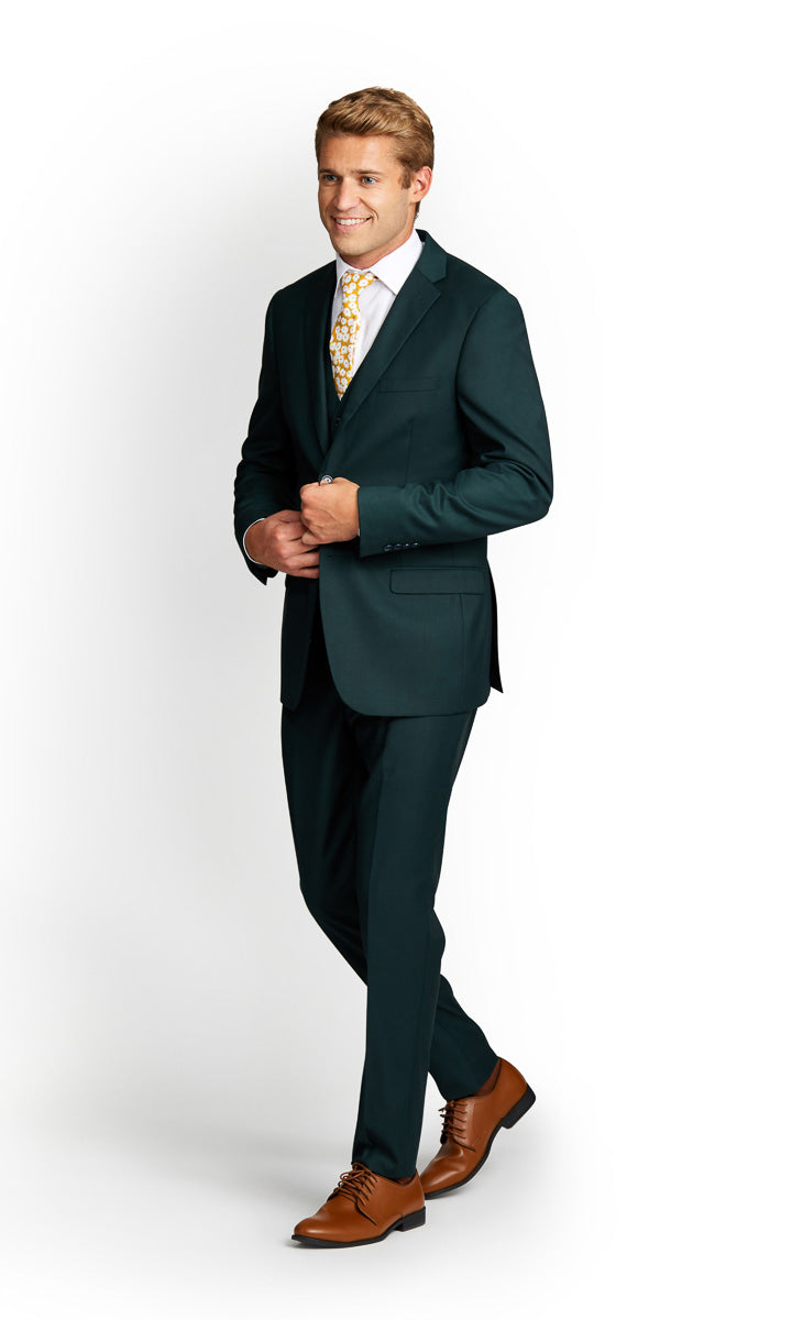 Dark Green Vested Suit