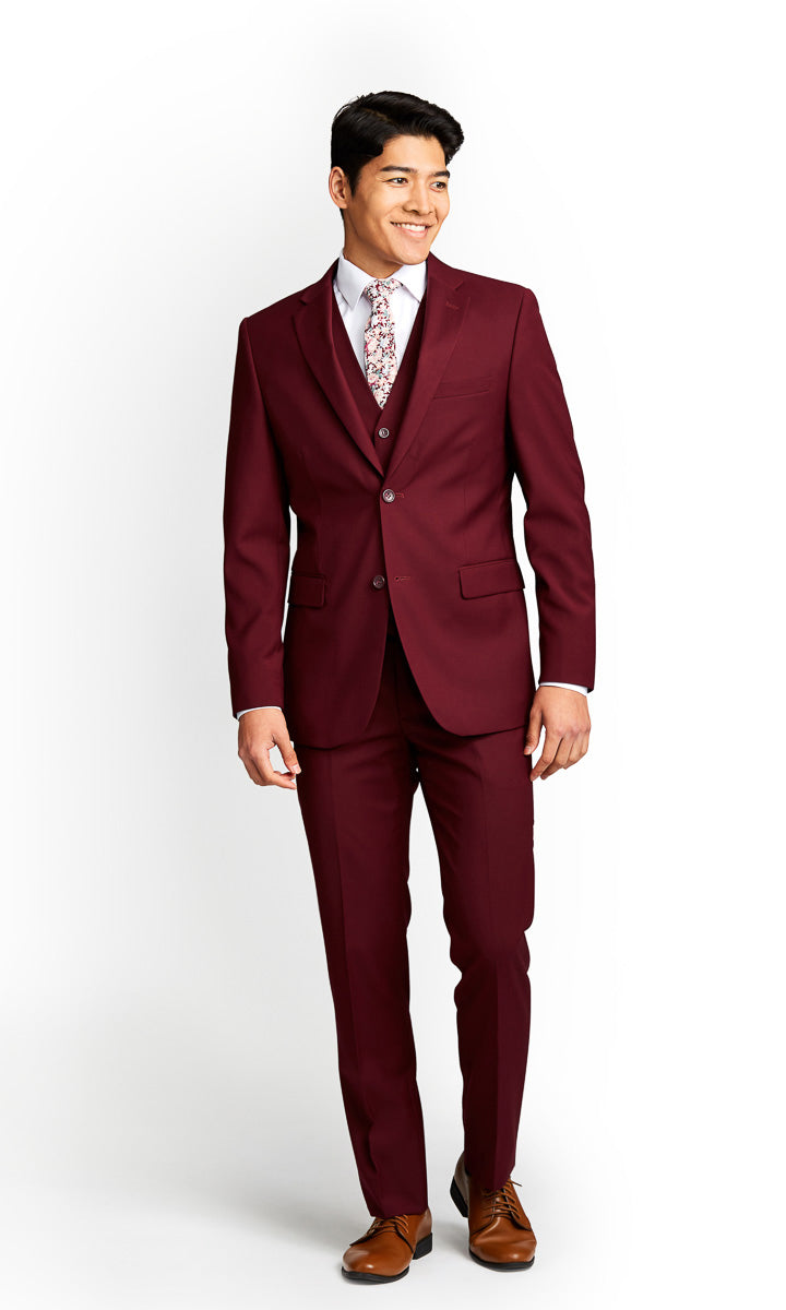 Burgundy Vested Suit