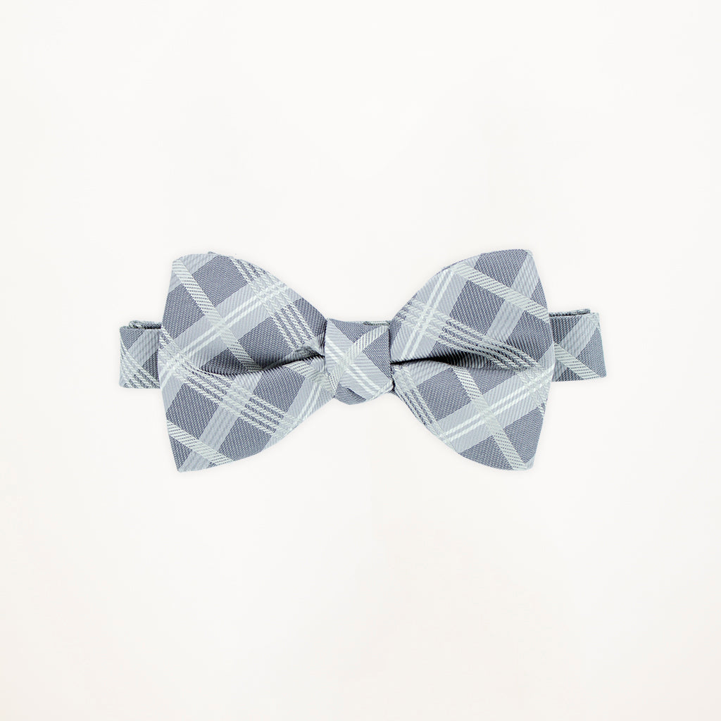 Heather Grey Plaid Bow Tie
